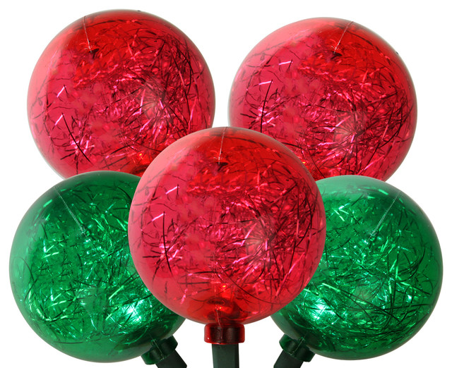 Set Of 10 Red And Green Led Ornament With Tinsel Christmas Lights.