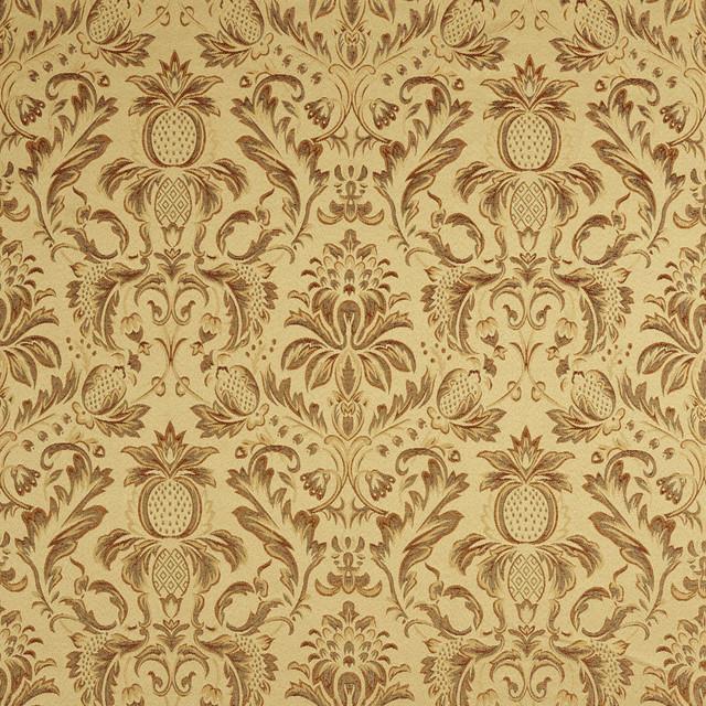 Sage Green Orange Gold Burgundy Pineapple Damask Upholstery Fabric