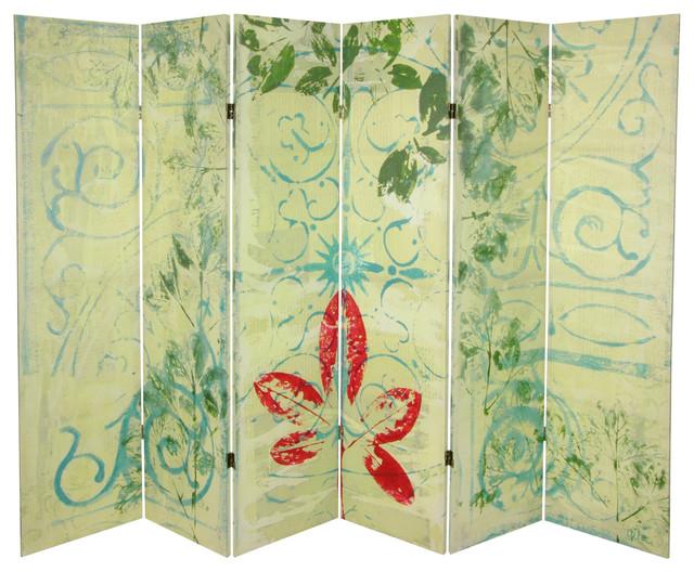 5 1/4' Garden Gate Canvas Room Divider 6 Panel