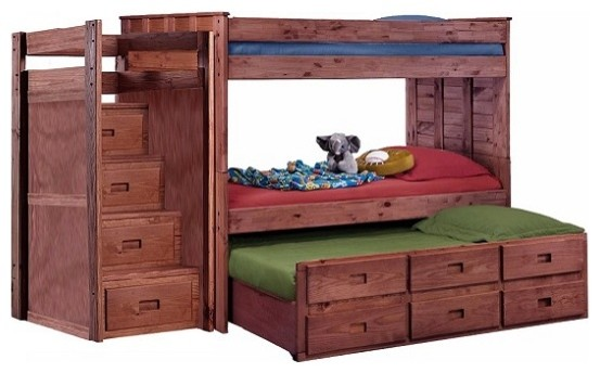 Raven Hill Twin Bunk Bed With Trundle And Stairs Transitional Bunk Beds By Totally Kids Fun Furniture Toys