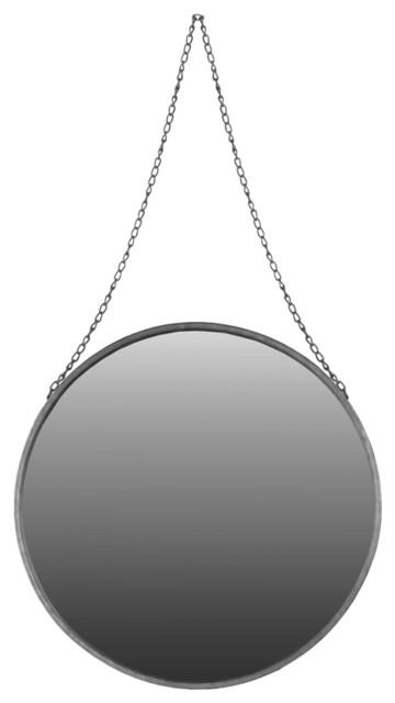 Large Mirror with Chain Hanger in Silver