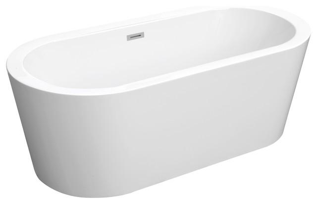 franz white freestanding oval acrylic bathtub - modern - bathtubs