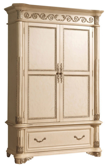 Sienna Antique White Armoire - Traditional - Armoires And Wardrobes - by Meridian Furniture