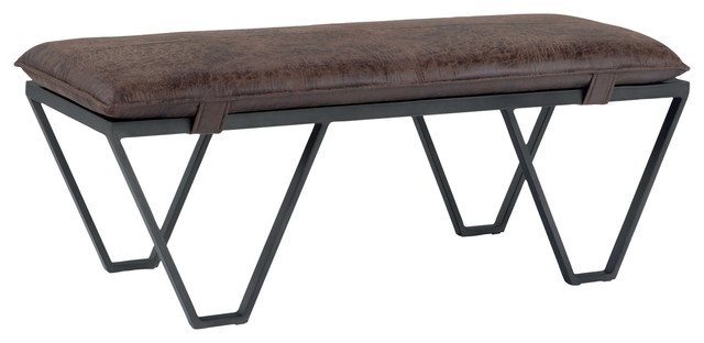 Groovy Bannister 48 Modern Ottoman Bench Distressed Brown Faux Air Leather Gmtry Best Dining Table And Chair Ideas Images Gmtryco