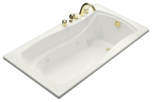 """Mariposa 66""""x36"""" Drop-In Whirlpool With Reversible Drain, White."""