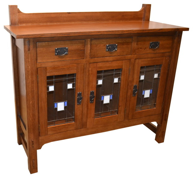 Arts and Crafts Stained Glass Buffet - Craftsman - Buffets And Sideboards - by Crafters and Weavers