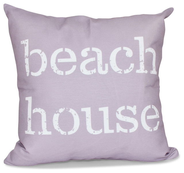 Beach House, Word Print Pillow, Lavender - Contemporary - Decorative Pillows - by E by Design