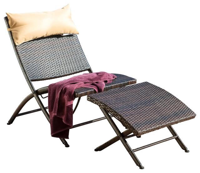 Selma Outdoor Lounge Chair And Ottoman Contemporary Outdoor Chaise Lounge