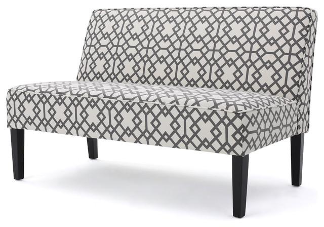 Charlotte Grey Geometric Patterned Fabric Love Seat.