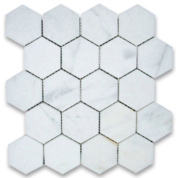 Calacatta gold hexagon mosaic tile honed chip size 3 traditional wall and for 1 inch hexagon floor tiles