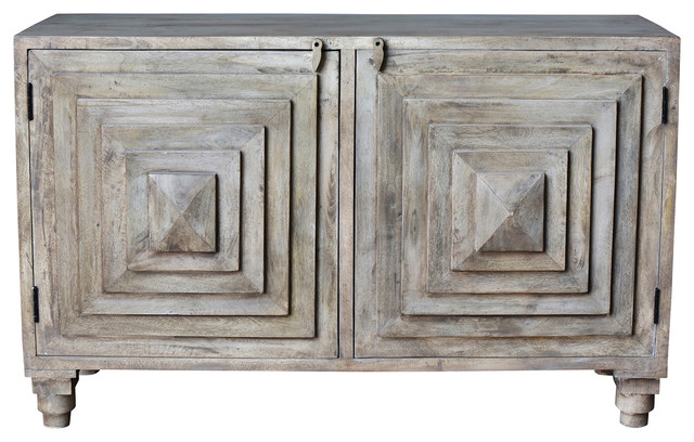 Bengal Manor Mango Wood 2 Stacked Pyramid Door Cabinet  sc 1 st  Houzz & Bengal Manor Mango Wood 2 Stacked Pyramid Door Cabinet - Farmhouse ...
