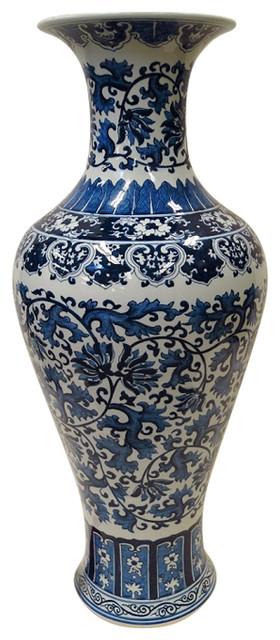 Blue And White Floral Vine Porcelain Vase 32 Asian Vases By