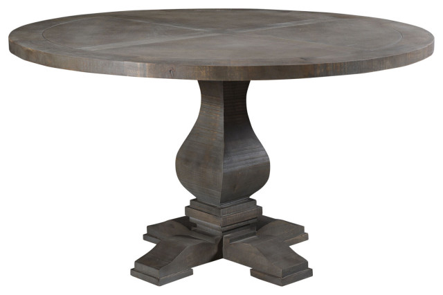 Willoughby 54 Round Mango Wood Pedestal Dining Table Traditional Dining Tables By Almo Fulfillment Services