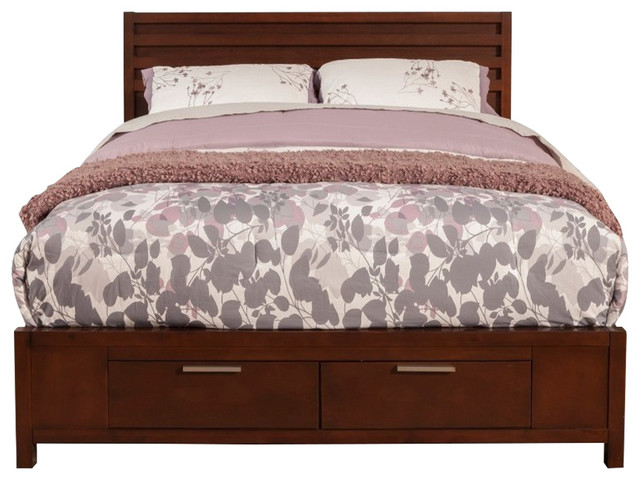 Mahogany Wood Queen Bed With Storage, Brown.