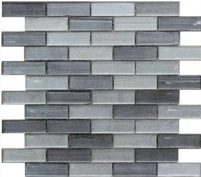 Random Metallic Stripped Gl Mosaic Tile Light Gray And Silver 11 Sheets
