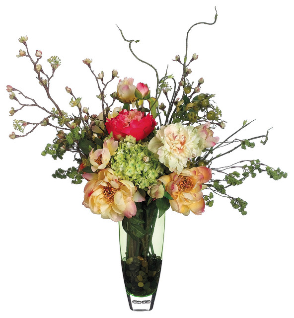 Peonies Roses And Hydrangeas Silk Floral Arrangement In