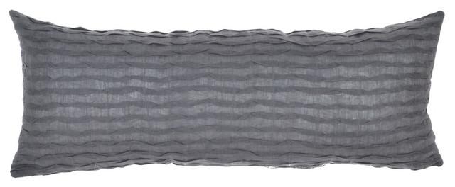 """Royal Ripples Lumbar Pillow Cover, Gray, 14""""x35""""."""