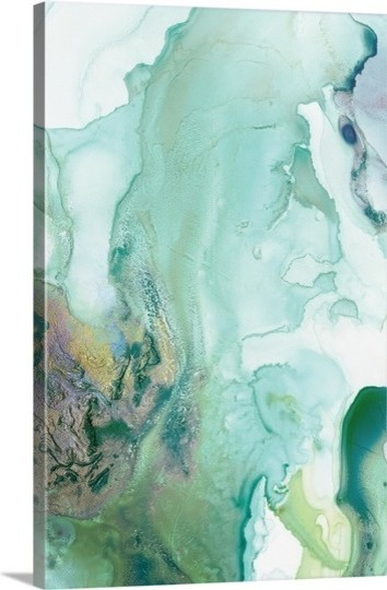 """mint Bubbles Iii"" Premium Thick-Wrap Canvas Wall Art 32""x48""."
