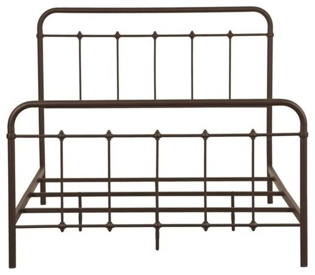 Shaped Headboard, Footboard Slat Design Motif Metal Bed With Brown