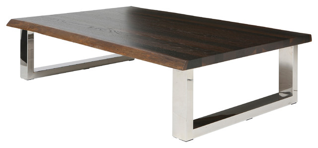 zinnia industrial loft brown oak stainless steel coffee table