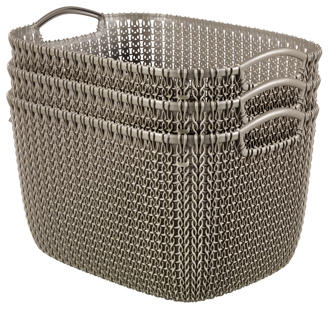 Curver By Knit Style Resin Rectangular 3-Piece Large Basket Set.