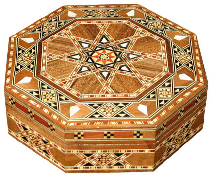 Syrian Walnut Mother Of Pearl Mosaic Jewelry Box  Traditional Jewelry Boxes And