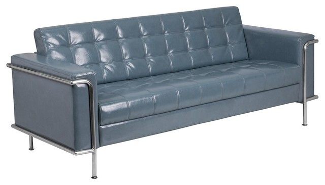 Flash Hercules Lesley Contemporary Gray Leather Sofa With Encasing Frame.