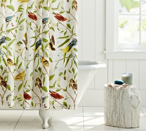 Spring Sparrow Shower Curtain · More Info
