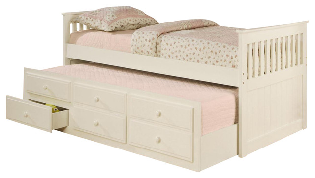 Coaster La Salle Twin Captains Bed With Trundle And Storage Drawers, White.