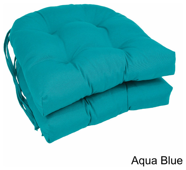 16 Quot Solid Twill U Shaped Tufted Chair Cushions Set Of 2