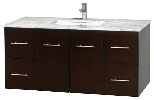 """Centra 48"""" Espresso Single Vanity, Countertop, Undermount Square Sink, No Mirror."""