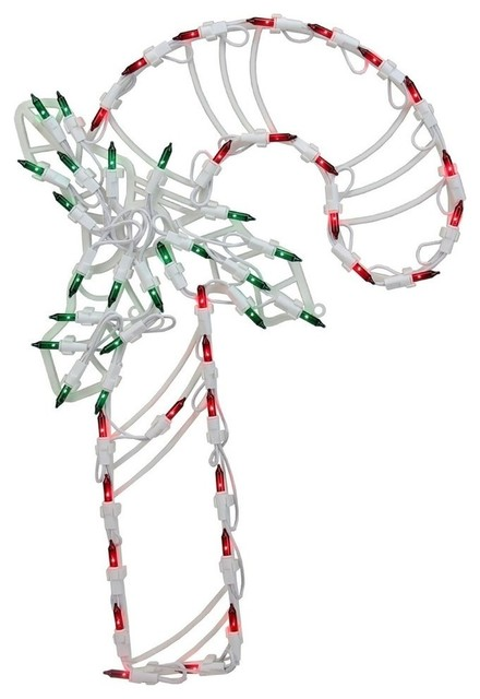 18 Candy Cane With Holly Christmas Decoration, Set Of 4.