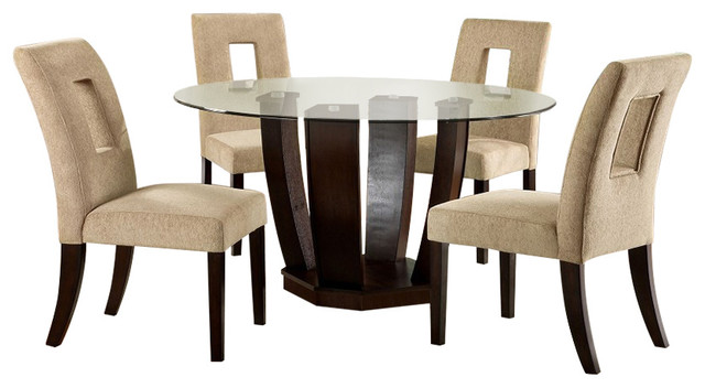 Furniture of America Modern Style Round Glass Top  : traditional dining sets from www.houzz.com size 640 x 352 jpeg 48kB