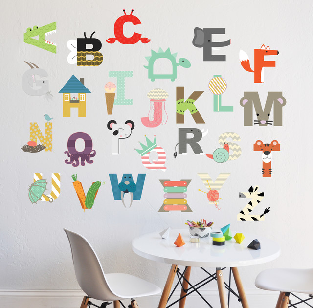 Interactive Alphabet, Wall Decal Contemporary Kids Wall Decor Part 72