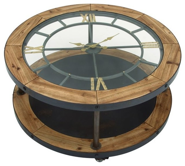 Gwg outlet metal wooden clock coffee table 40 x19 desk and mantel clocks by brimfield may Coffee table with clock