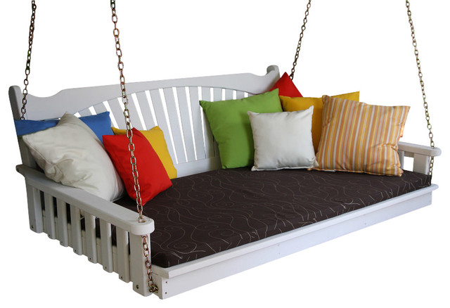 4&x27; Pine Porch Swing Bed, Fanback Design, White.