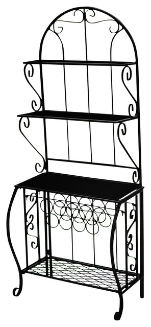 4 Shelf Bakers Rack W Wine Holder In Antique Bronze Wine