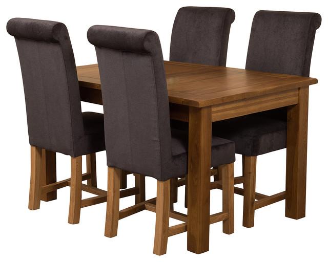 Cotswold Rustic Oak Extending Table, 4 Washington Chairs, Black Velvet Effect