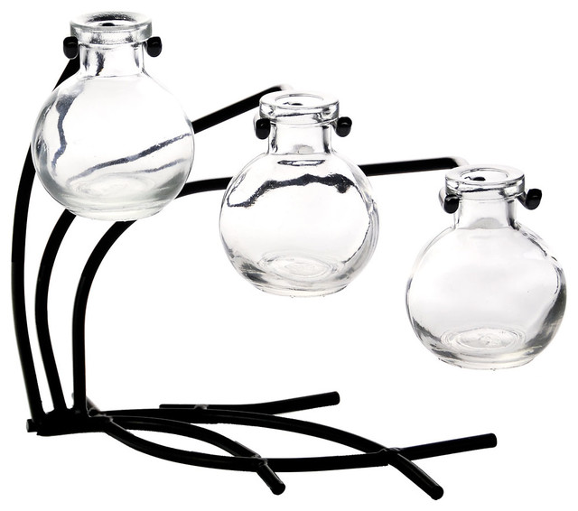 Couronne Co. Casablanca Three Recycled Glass Vases and Metal Stand, Clear