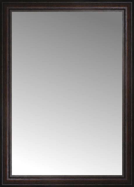 26 X36 Custom Framed Mirror Distressed Brown