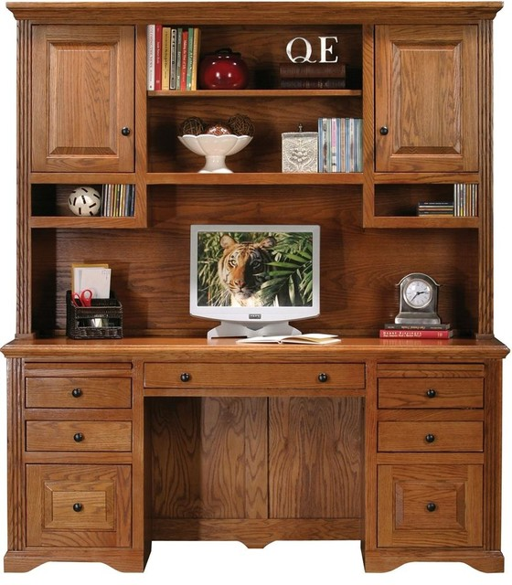 Oak Ridge Double Pedestal Desk W Hutch Dark Oak Desks