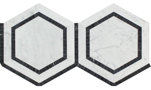 "12""x12"" Polished Carrara Marble Hexagon Mosaic Tile With Black, Set Of 250."