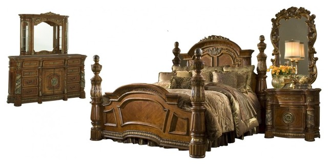 AICO Villa Valencia Low Poster Classic Chestnut Bedroom Set, California King
