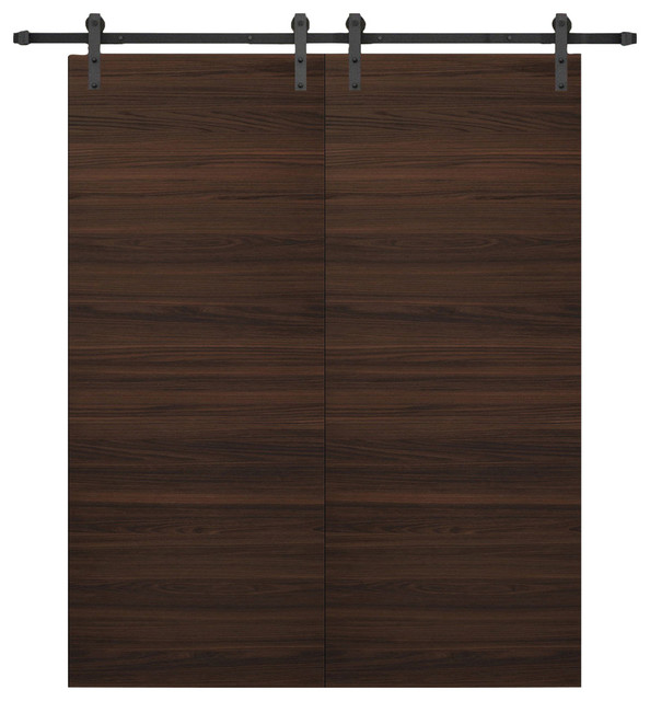 "Planum 0010 Interior Double Barn Doors Chocolate Ash, No Pre-Drilled, 72""x80""."