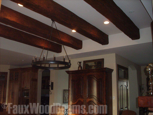 Faux beam tray ceiling update 2 family room new york for Fake wood beams for ceiling