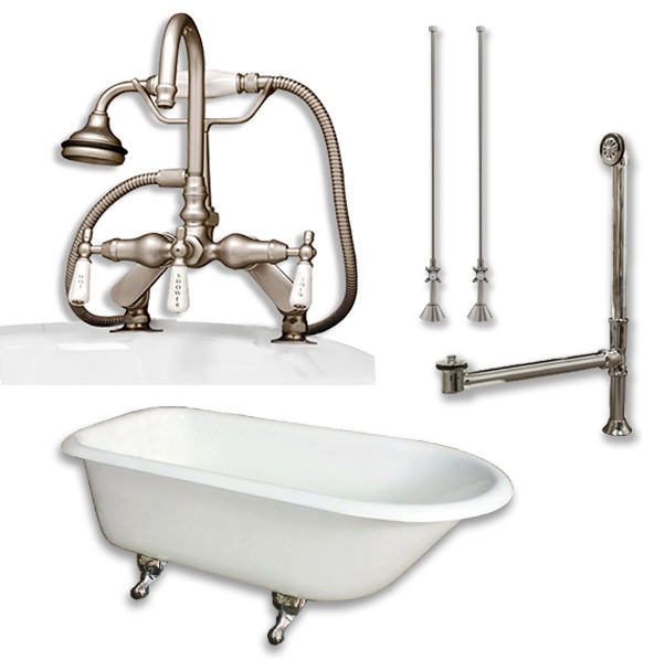 "Cast Iron Rolled Rim Tub 55"", Telephone Faucet Brushed Nickel Package."