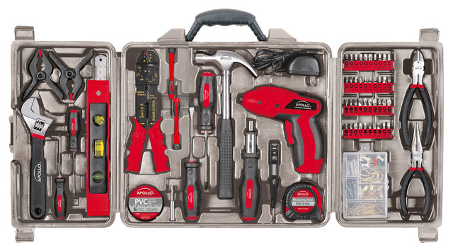 Apollo Tools 161 Piece Household Tool Kit With 4.8 Volt Screwdriver.