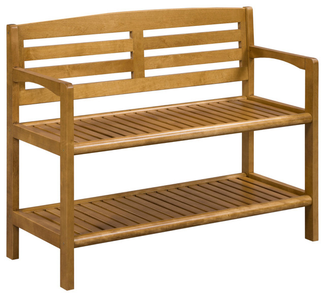 abingdon solid birch wood large bench with back transitional accent and storage benches by. Black Bedroom Furniture Sets. Home Design Ideas