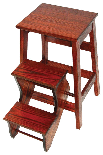 Bed Step Stool: Amish Made Counter Height Oak Stool With Flip Out Steps