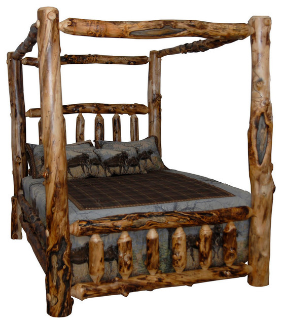 rustic aspen log king canopy bed beds for sale used size frame poster bedroom set